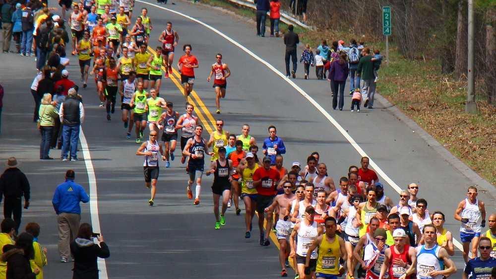 Boston Marathon Runners in Wellesley 050813 SG