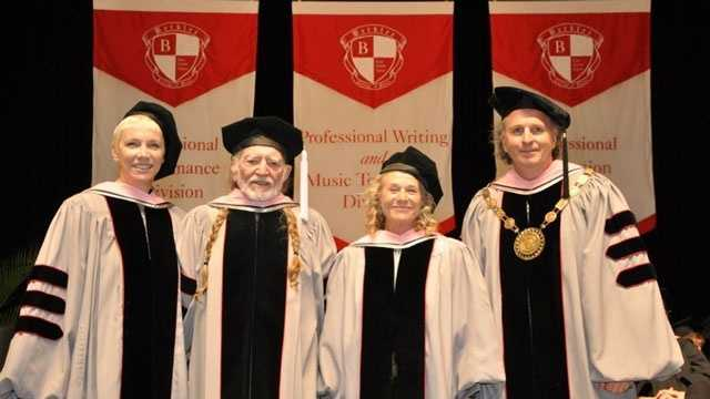 Annie Lennox, Willie Nelson, Carole King and Berklee president Roger H. Brown at 2013 commencement.