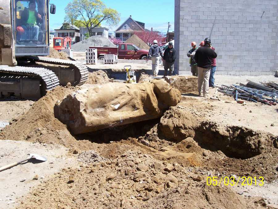 Construction workers digging the foundation for a new building made a startling discovery.