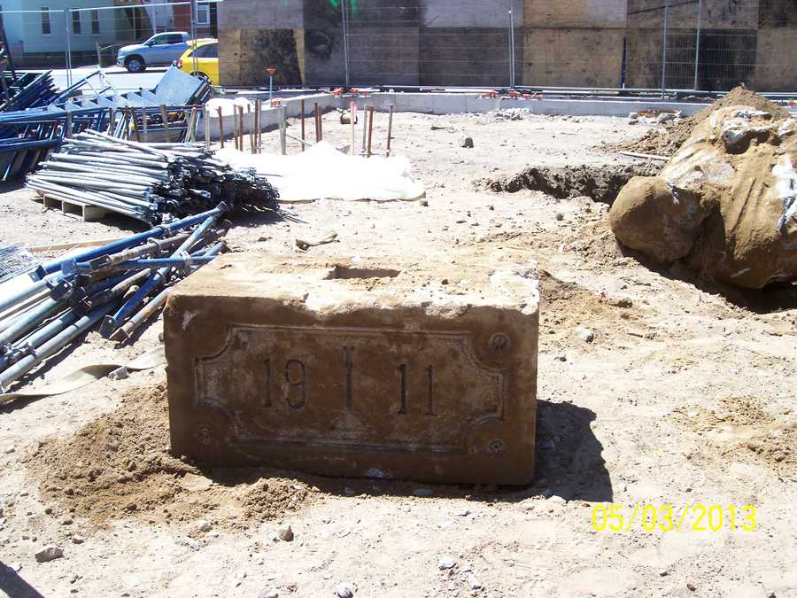 Workers also found the cornerstone of the 1911 church.
