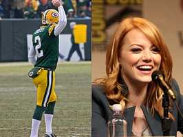 1) Mason and Emma(Pictured: Green Bay Packers placekicker Mason Crosby, and actress Emma Stone)
