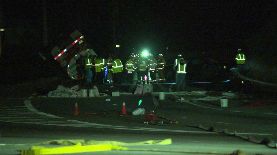 A tanker loaded with 11,000 gallons of fuel leaked fuel after rolling over on Route 3 near the Lowell Connector.