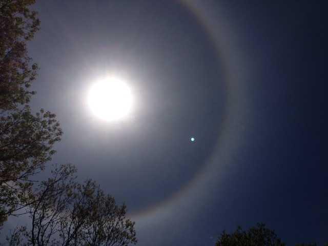 The phenomenon is actually known as a Sun Halo.