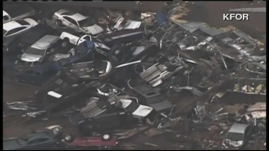 Cars and trucks were left crumpled on the roadside.