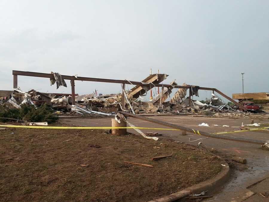 Tornado damage in Moore, OK.