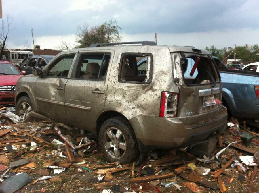Car destroyed by the torando.