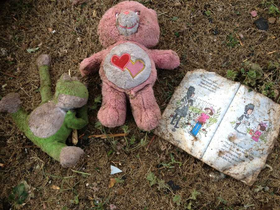 A teddy bear and children's book in the rubble in Moore, OK.