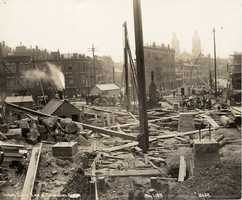 1899: Looking south from south end of the Charlestown Bridge during construction.