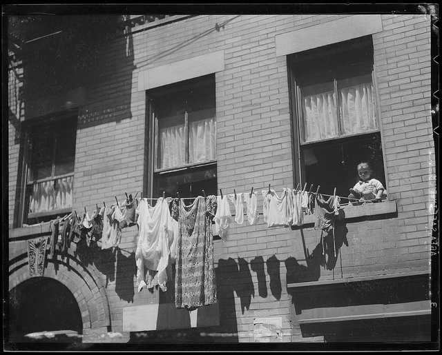 1935: Clothing drying on lines in the North End
