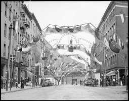 Hanover Street in the North End decorated for Saints Day