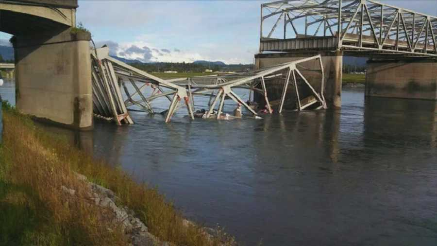The four-lane Interstate 5 Skagit River bridge collapsed about 7 p.m. local time.
