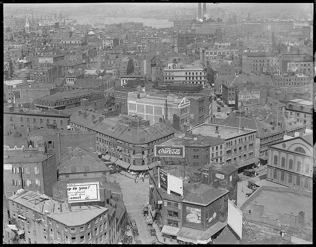 Circa 1920: View toward Dock Square and North End from Ames Building