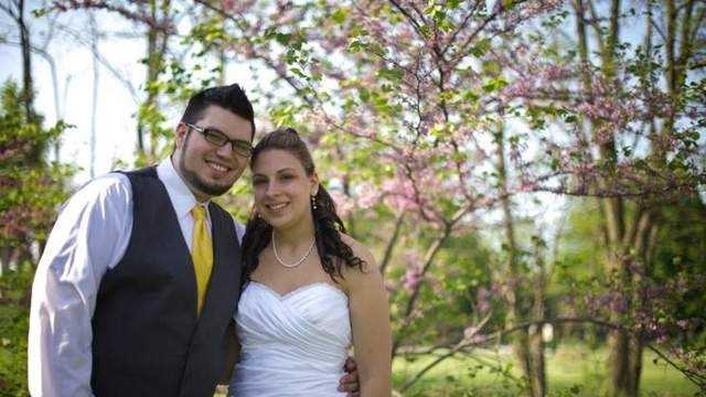 Jordan Costa is pictured here with his wife Heather Favazza-Costa on their wedding day Saturday. The two were in a car accident a day later and Jordan was killed. His wife is in the hospital.