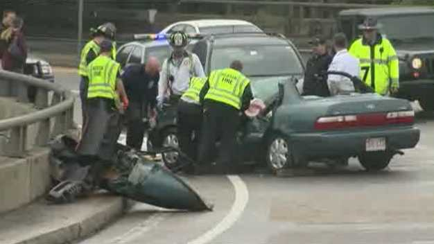 One person died in a 3-vehicle crash on the Mass. Pike on May 25, 2013.