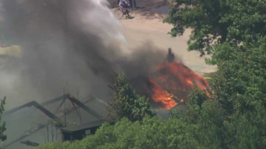 Firefighters battled a two-alarm fire in Taunton.