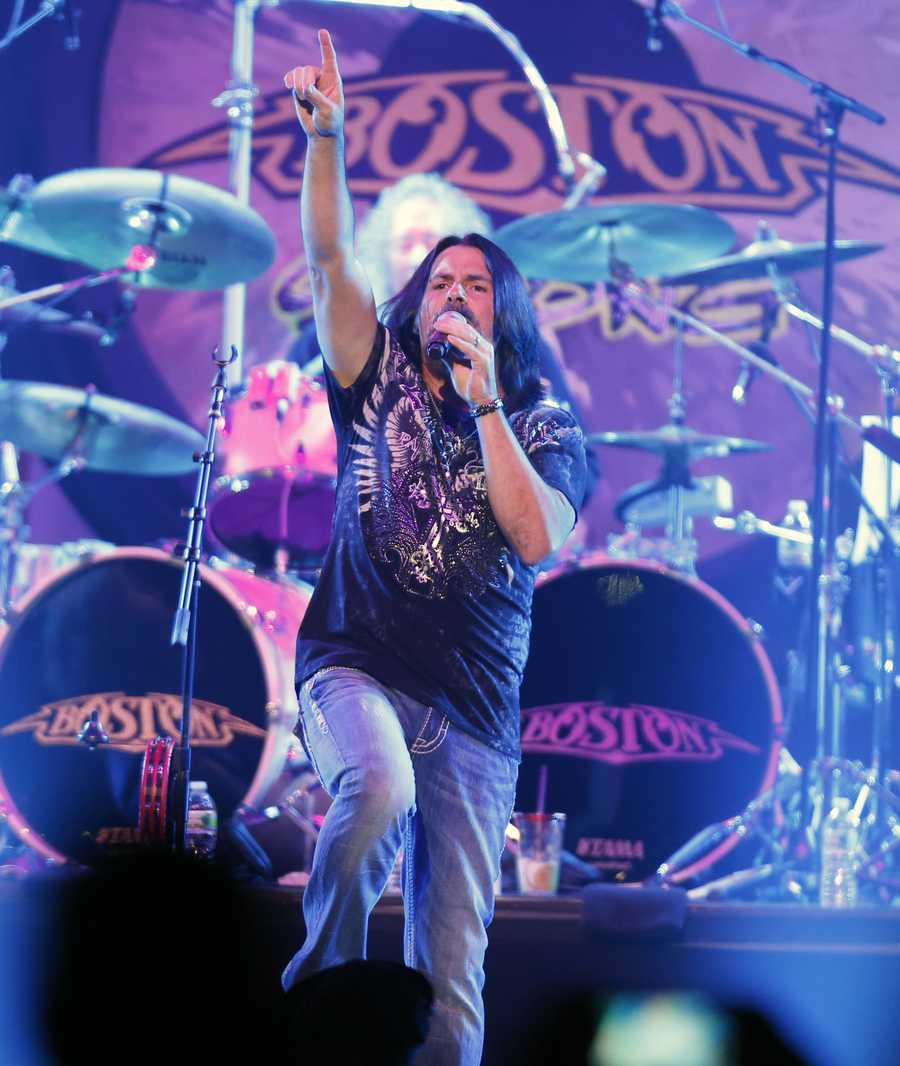 Tommy DeCarlo, lead singer of the group Boston, performs at the Boston Strong Concert: An Evening of Support and Celebration at the TD Garden