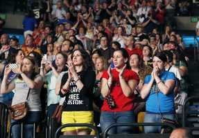 Concert goers attend the Boston Strong Concert: An Evening of Support and Celebration at the TD Garden
