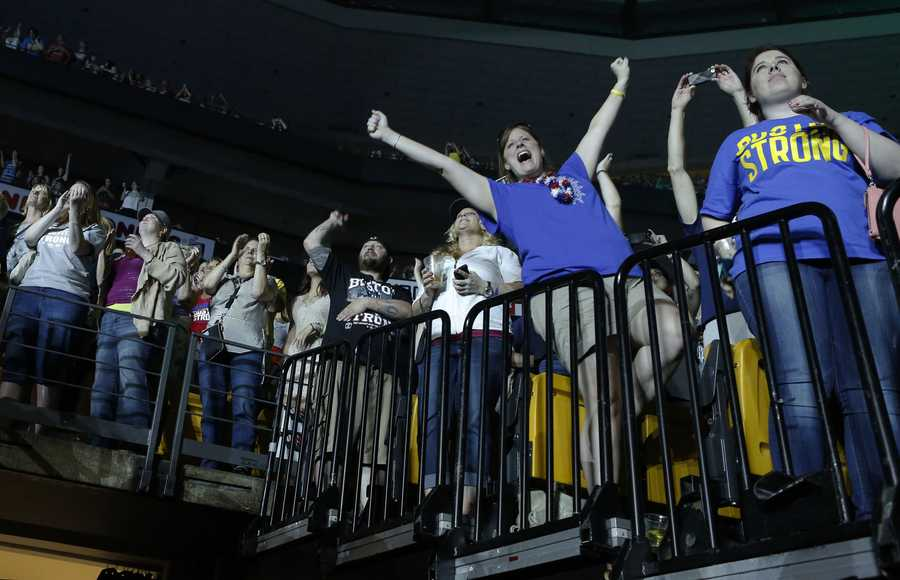 Concert goers react during the Boston Strong Concert: An Evening of Support and Celebration at the TD Garden