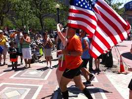 Frank Fumich of Arlington, Va., and Matt Nelson of West Palm Beach, Fla., left from the 9/11 Memorial at the Pentagon on Tuesday and arrived at 1 p.m. Saturday, June 1, 2013, at the Boston Marathon finish line.