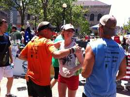 Fumich and Nelson raised $78,800 for Boston Marathon victims.