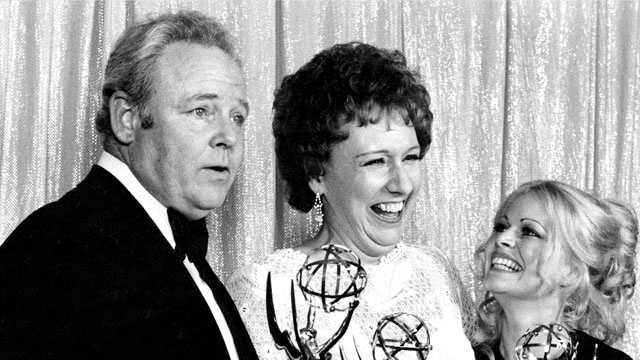 "Cast members of ""All in the Family,"" from left, Carroll O'Connor, Jean Stapleton, and Sally Struthers pose with their Emmy's on May 14, 1972."