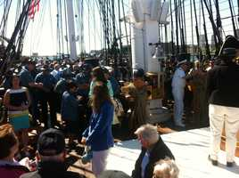 The USS Constitution set sail Tuesday in honor of the first responders to the events surrounding the Boston Marathon bombings.