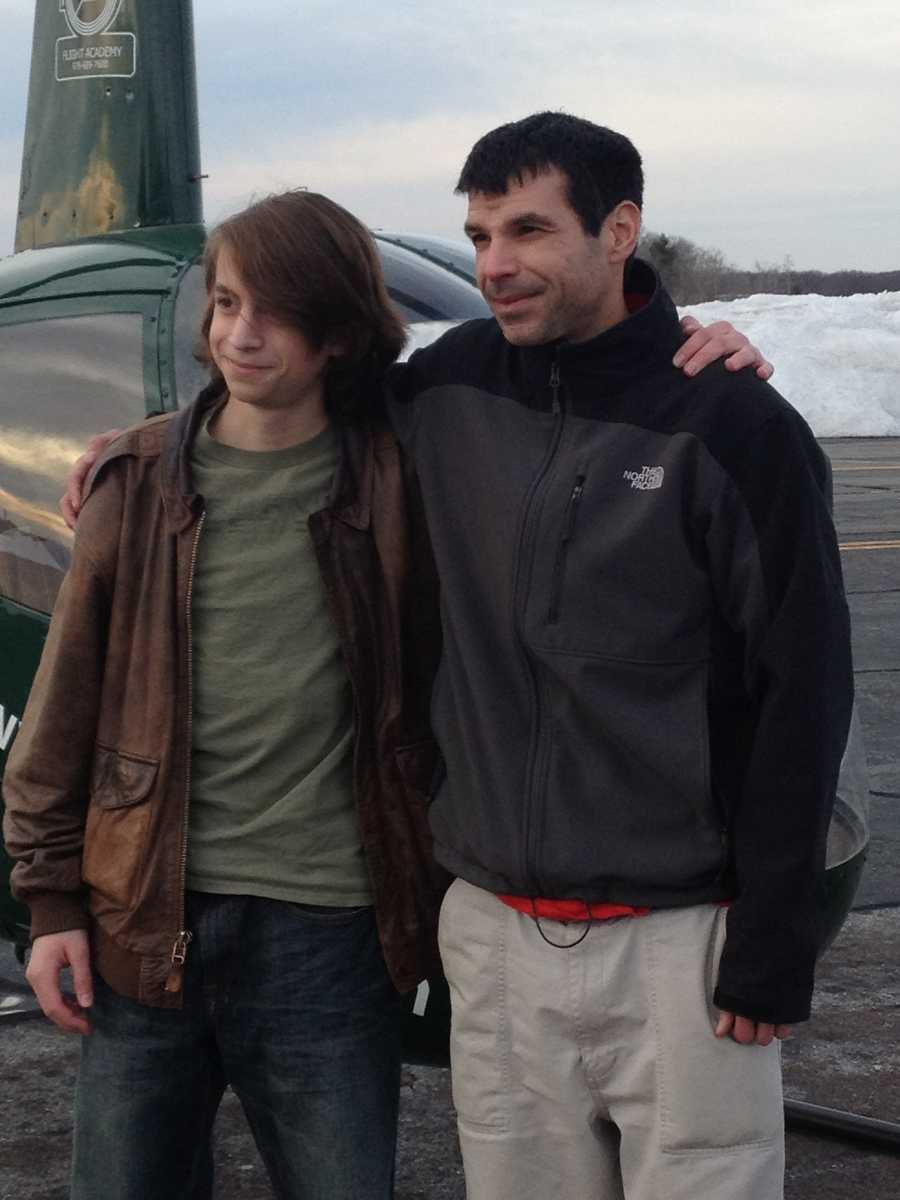 Jake with his flight instructor, Mike Holland, after solo flight