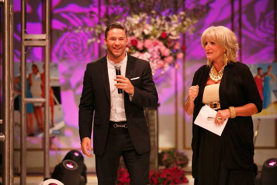 Julian Edelman with NewsCenter 5's Susan Wornick. Wornick created Kelley for Ellie seven years ago to honor colleague Kelley Tuthill's fight against breast cancer and the Ellie Fund's commitment to helping local patients and families.