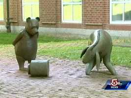 """Nancy Schon's full-size """"Winnie the Pooh and Eeyore"""" at the Newton Free Library."""