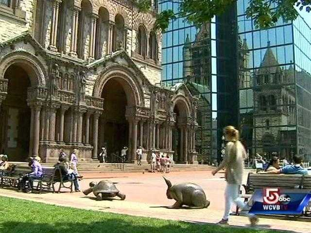 "Ms Schon's ""Tortoise & Hare"" reside in Copley Square."