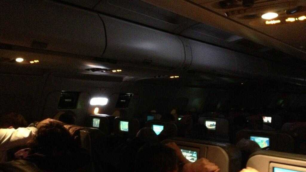A passenger on board Jet Blue flight 425 posted this photo to Twitter of passengers bracing for landing in Newark.