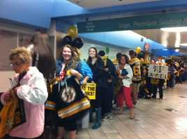 Hundreds of Bruins fans gathered at the Garden on Tuesday to send the team off to Chicago.