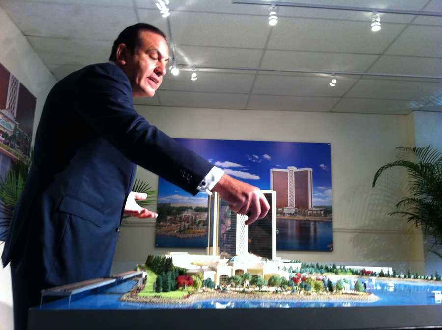 COO Gamal Aziz explains 3 D casino model proposed for Everett which includes high rise luxury hotel, convention center, river walk, dock for water transportation, spa.