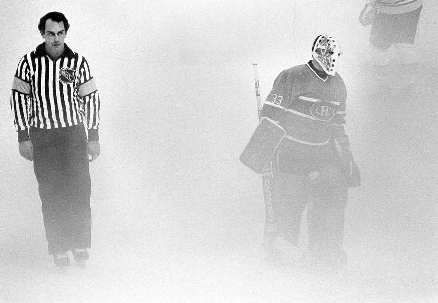 The Garden had no air conditioning, resulting in fog forming over the ice during some Bruins' playoff games. This photo fromOct. 13, 1983, shows what warm, humid weather would do to the playing surface.