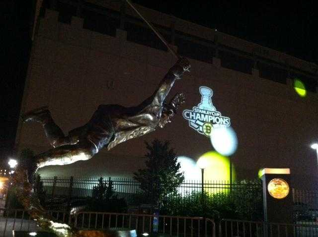 """In 2010, a bronze statue depicting the famous scene of Bobby Orr flying through the air immediately after scoring """"The Goal"""" that clinched the Bruins' 1970 Stanley Cup Championship was unveiled."""