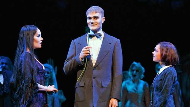 eLeen Snowgren as Morticia, Dan Olson as Lurch and Jennifer Fogarty as Wednesday in the national tour of The Addams Family.