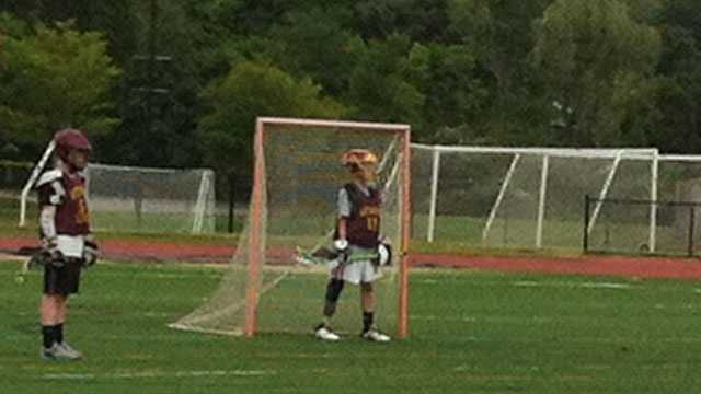After receiving his prosthetic leg, Matthew Freitas returns to the field as goalie on June 16, 2013.