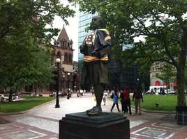 Painter John Singleton Copley sporting his Bruins jersey in Copley Square.