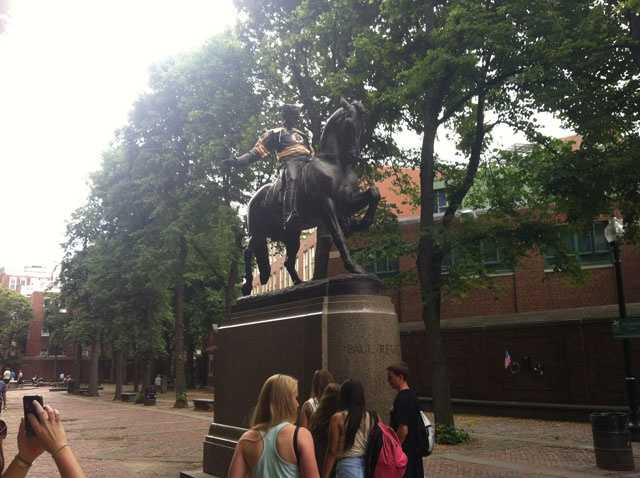 The Paul Revere statue in the North End is also dressed for the Stanley Cup finals.