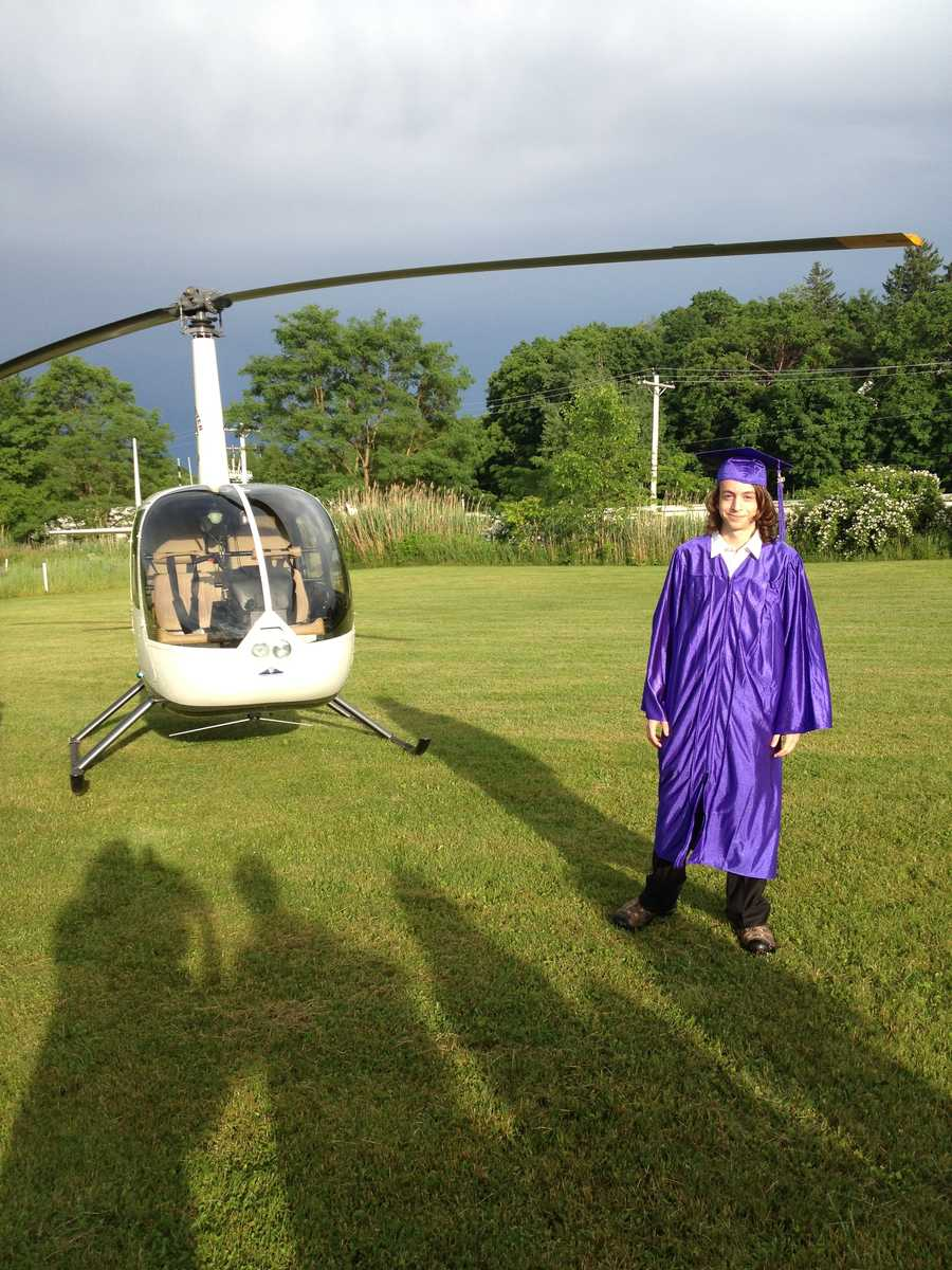 Jake in his cap and gown before boarding