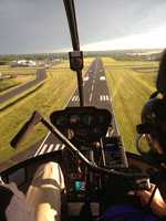 Coming in for a landing at Lawrence Municipal Airport