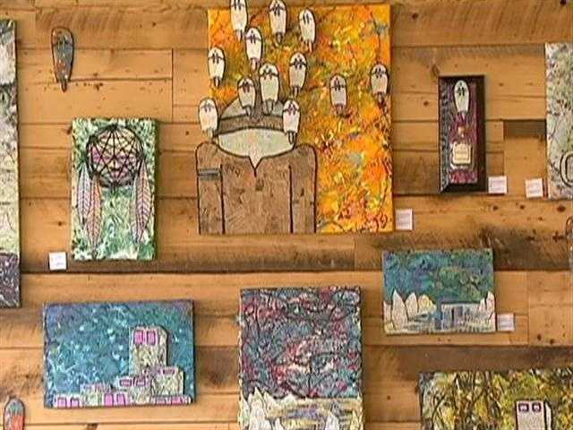 The cafe showcases local art.