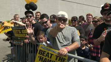 Thousands of fans greeted the Boston Bruins, who departed for Chicago Friday afternoon.
