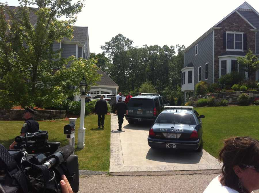 Massachusetts State Police detectives searched in and around Hernandez's North Attleborough home as they gathered evidence in the murder case against him.