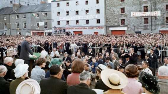 President Kennedy addresses the people of New Ross, Ireland in 1963.