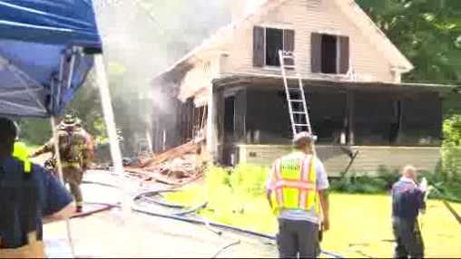 A house in Berlin catches fire after two propane tanks explode.
