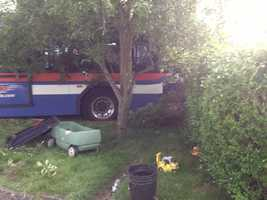 The driver of the bus was trapped for about an hour.