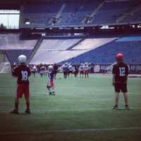Daron playing at the University of Massachusetts Amherst Football High School Camp