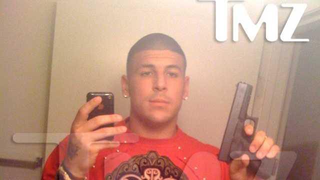 Aaron Hernandez TMZ gun photo 062713