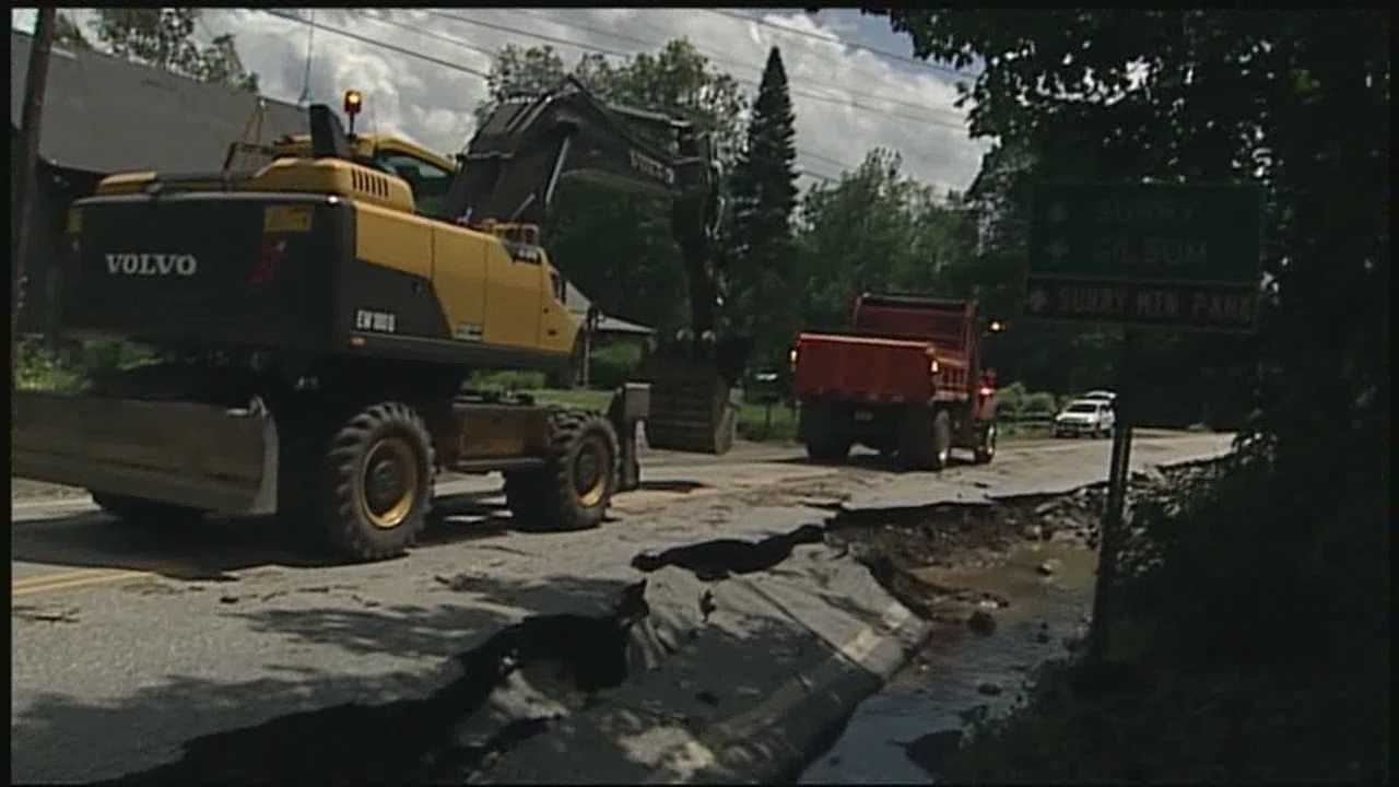 Residents in Surry say Friday night's rain came down with such force that it washed away part of the road.